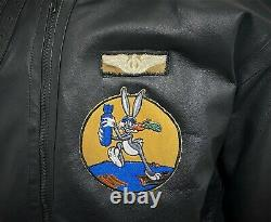 USAAF B-3 LEATHER FLIGHT BOMBER JACKET COAT with PATCHES US ARMY AIR FORCE
