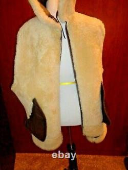 Us Army Airforce, Vintage Type B-3 Brown Leather, Shearling Bomber Jacket, Sz M