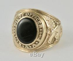 Usaaf United States Army Air Force Pilot Officer 10k Gold Onyx Ring Sz 9.5