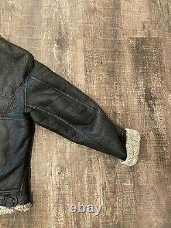 VINTAGE US ARMY AIR FORCE B-3 SHEARLING LEATHER BOMBER JACKET SIZE (see Measure)