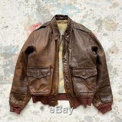 Vintage 1940s WW2 USAAF A-2 Leather Flight Jacket Size Small Army Air Force WWII
