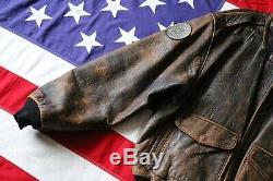 Vintage 1987 Avirex XL Us Army Air Force A-2 Leather Flight Bomber Coat Jacket