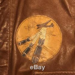 Vintage 40'S US ARMY AIR FORCE A-2 Military Leather Outerwear Flight Jacket 42