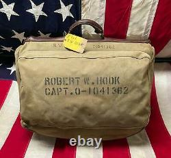 Vintage 50s US Army Air Force Captains Bag Military Suitcase Stencil Robt. W. Hook