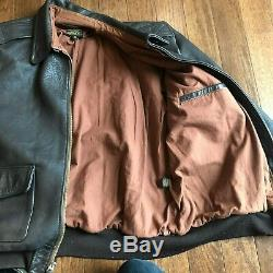 Vintage A-2 USA Army Air Force Brown Leather Bomber Flight Jacket Talon Size 46