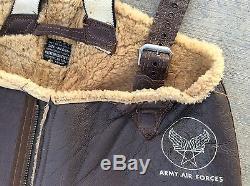 Vintage ARMY Air Forces WW2 WWII Wool & Leather Men's Bibs Pants Medium