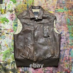 Vintage AVIREX Type B-9 US Army Air-force Bomber Utility Leather Vest Size M USA