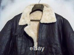 Vintage Air Force Army Shearling Sheepskin Leather B3 Flying Jacket Size XL