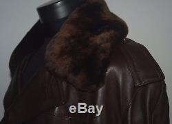 Vintage Air Force Military Army Coat Trench Heavy Leather Collar Fur Lambskin