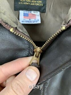 Vintage Avirex US Army Airforce Brown Leather A2 Bomber Flight Jacket Sz 40 USA