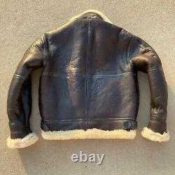 Vintage B-3 B3 Air Force Army Shearling Sherpa Leather Bomber Flight Jacket USA