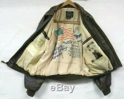 Vintage Leather Avirex A-2 Bomber Jacket Brown Us Army Air Force Exc Sz Large