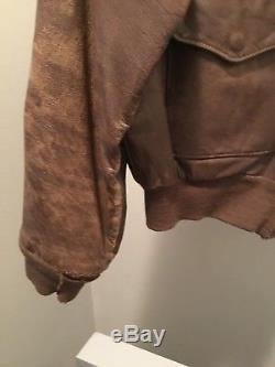 Vintage Size 40 WWII 1942 Army Air Force Leather Bomber Flight Jacket & Helmet