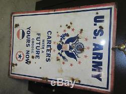 Vintage U. S. Army & Air Force Recruiting Porcelain Double Side Sign