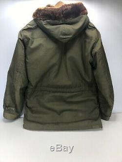 Vintage US Army Air Forces Jacket Winter Flying Type B-11 Size 36 Hood Fur-Lined