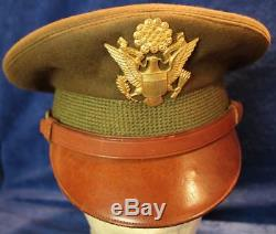 Vintage Wwii Us Army/army Air Force Officer Wool Cap Hat Size 7 3293