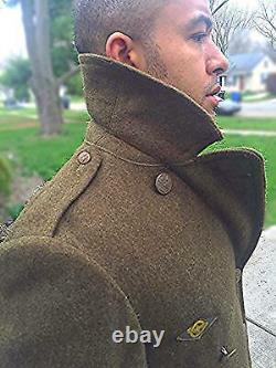 Vintage Wwii Us Wool Overcoat Military Army Air Corps Force 1942 Ww2 Uniform 36r
