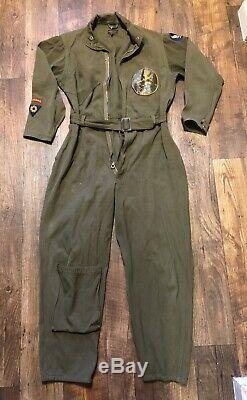 Vtg 40s WWII Air Force US Army Type A-4 Flight Suit Leather Squadron Patch