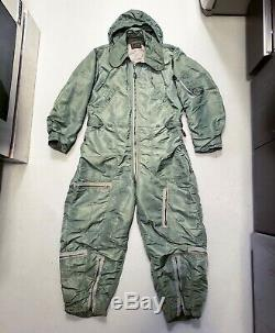 Vtg 50s USAAF ARMY AIR FORCE CWU-1/ P Flight Suit COVERALLS Sz L BLACK LABEL