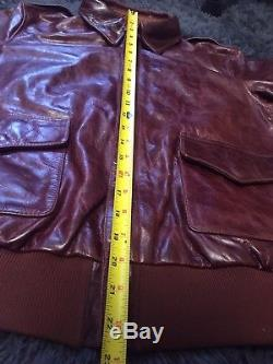 Vtg Army Air Force A-2 Reproduction Leather Flyers flight bomber jacket L