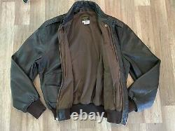 Vtg Military U. S. Army Air Force Leather Bomber Jacket Flyer's Leather A-2 42