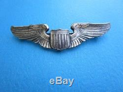 WW 2 Army Airforce Pilot Badge Sterling Silver Heavy 25Grams Pin Wings