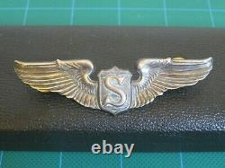 WW2 Service pin Pilot Sterling Silver Pin 3 USAF Army Air Force Army Air Corps
