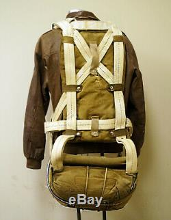 WW2 U. S Army Air Force Parachute with Anniversary Leather Bomber Jacket