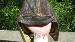WW2 US ARMY AIR FORCE Type A-11 Leather Flight Helmet Skull Cap WIRED