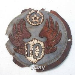 WW2 US Army AAF 10th Air Force LEATHER Patch for Bomber Fighter Jacket CBI