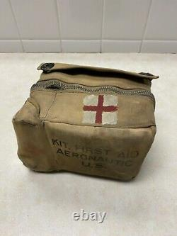WW2 US Army Air Forces Aeronautic First Aid Kit Canvas WithContents
