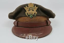 WW2 US Officer visor cap dress uniform jacket hat Army Air Force corp WWII NAMED