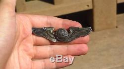 WW2 USAAF US Army Air Force AAF 3 inch Sterling Navigator Wing Pin Back Sterling