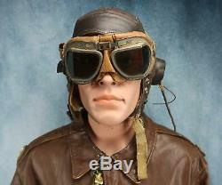 WW2 officer US Army Air Force Corp leather A2 bomber jacket USAF NAME group 44