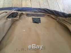 WWII Leather Bomber Flight Jacket A-2 With Matching Dog Tags Army Air Force