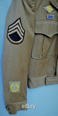 WWII U. S. Army Air Force European Command Staff Sergeant Ike Jacket & Insignia
