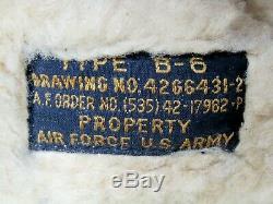WWII US ARMY AIR FORCE USAAF B-6 Leather Shearling Flight Helmet