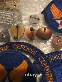 WWII US ARMY AIR FORCE USAAF GROUPING patches, pins, dog tags, DUI and more