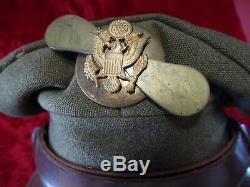WWII US Army Air Force Crusher Hat Embellished EM Cap Badge with Brass Propeller