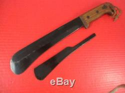 WWII US Army Air Force Fixed Blade Machete Survival Knife withBlade Guard CASE