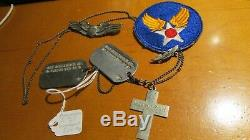 WWII US Army Air Force Pilot Dog Tag Group Sterling Silver Chian Wings Patch Pin