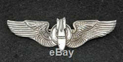 WWII US Army Air Force Sterling Bombardier Wings Pin Back Theater Made Full Size