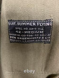 WWII US Army Air Forces Summer Flight Suit AN-S-31A Size 42 Medium VERY NICE