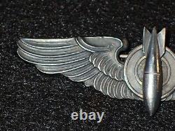 WWII USAAF Army Air Force Bombardier Badge Wings Balfour Sterling 3 LGB Orig