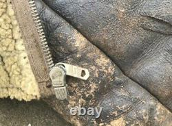 WWII USAAF US ARMY Perry Sportswear D-1 Mechanics Sheepskin Jacket Newey Zip