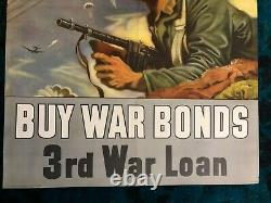 WWII WW2 Original War Poster Back the Attack Buy War Bonds US Army Air Force