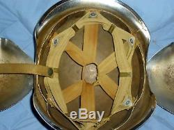 WWII era Army Air Force Flak Helmet, Biker Chrome Plated, Original Suspension