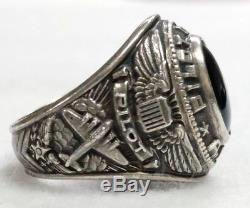 World War II WWII Army Air Force Pilot Officer Sterling Silver Ring Size 8.5