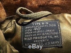 Wwii Type B-9 Parka Jacket Size 40 Coat Air Forces Us Army Fur Hood Ww2