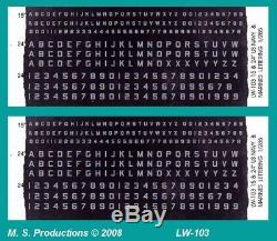 1/144 Décalques Lw-103 Lettres Numéros 1.25mm & 2.0mm De Haut Us Army Tanks & Airforce